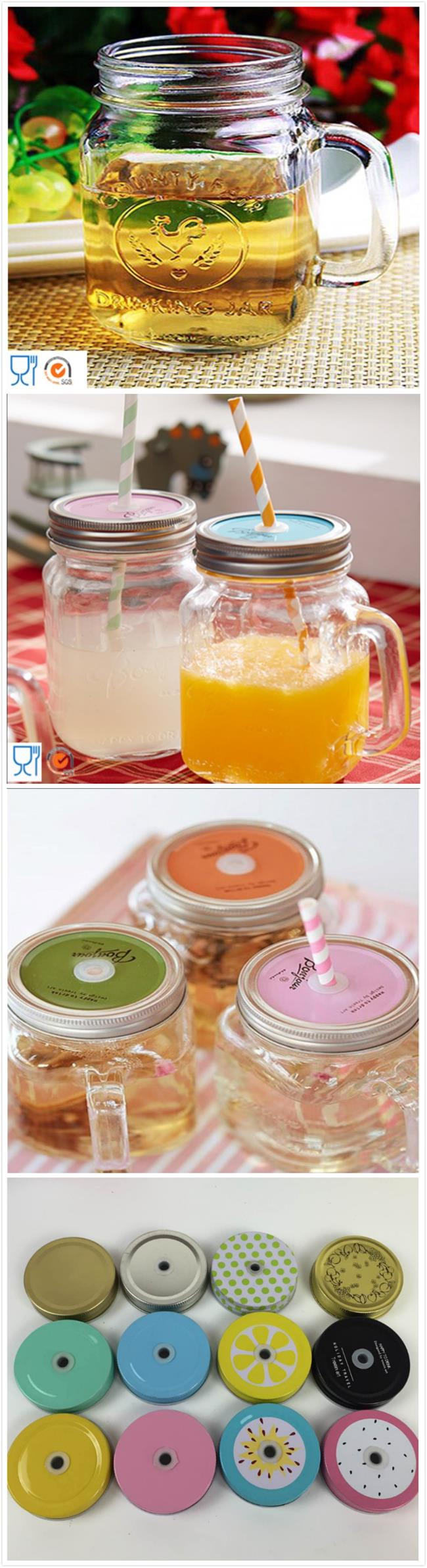 Small Volume Water Bottle Glassware Mason Jar with Handle