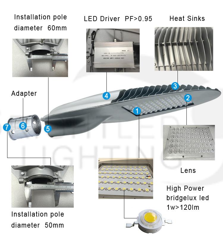 5m 6m Aluminum Cool White IP65 Graden LED Street Light
