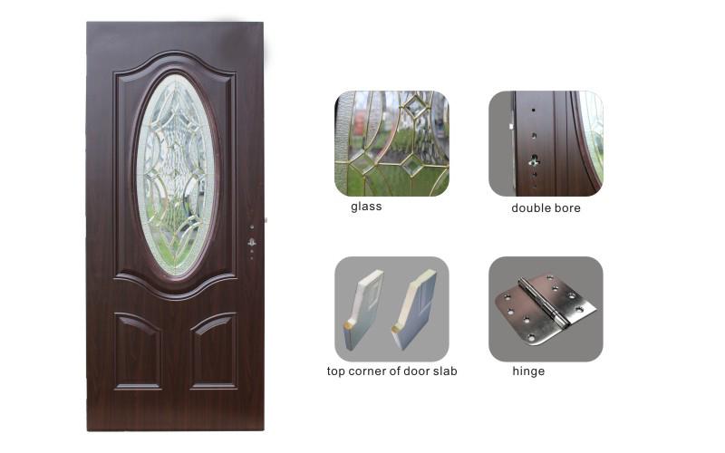 Fangda Cedar Wood Small Oval Glass Steel Door
