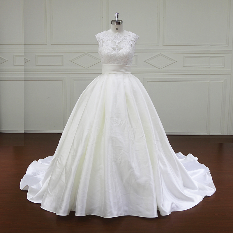 Fancy Beautiful Lace Floor Length Mikado Wedding Dress