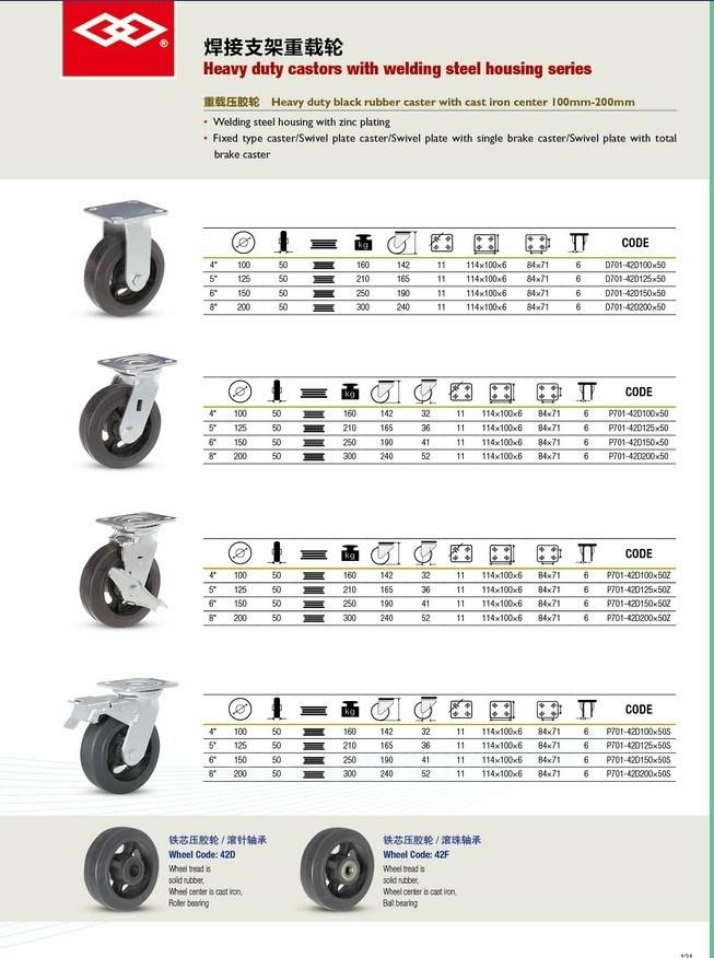 Heavy Duty Black Rubber Castors (P701-42D100X50)