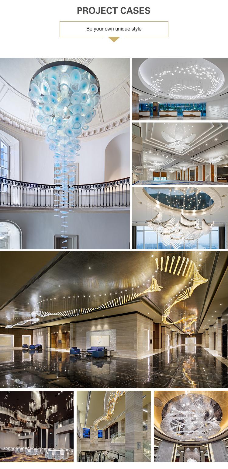 custom modern long crystal chandelier for hotel