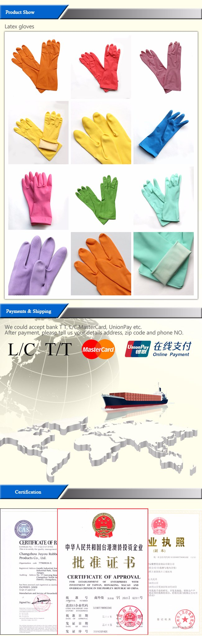 Anti Acid Work Waterproof Latex Gloves with ISO9001 Approved for Working