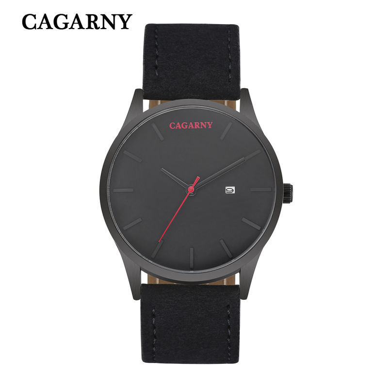 6850 Fashion Wristw Watch Quartz Movement Date Window Leather Strap Watch