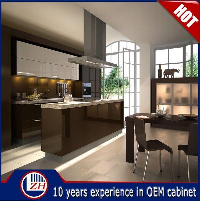 Glossy Waterproof MDF Kitchen Cabinet Designs with Basket Accessories