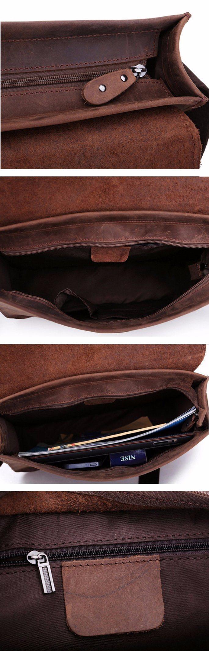 Hot Selling Good Quality Brown Crazy Horse Leather Bag Messenger for Men