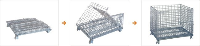 Warehouse Steel Folding Storage Wire Mesh Cage Container