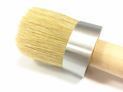 Natural White Bristle Round Brush with Plain Birch Handle