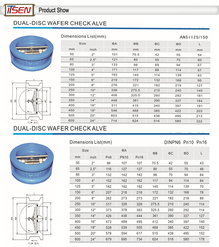 Dn40~Dn800 Pn1.0/1.6MPa Wafer Type Butterfly Check Valve