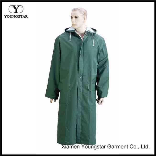 Fashion Design Waterproof Hooded PVC/Polyester Rain Coat / Long Raincoat