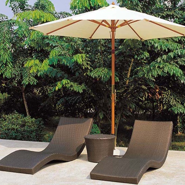 Outdoor Beach Deck Chair Pool Bed Side Rattan Wicker Furniture Lounge