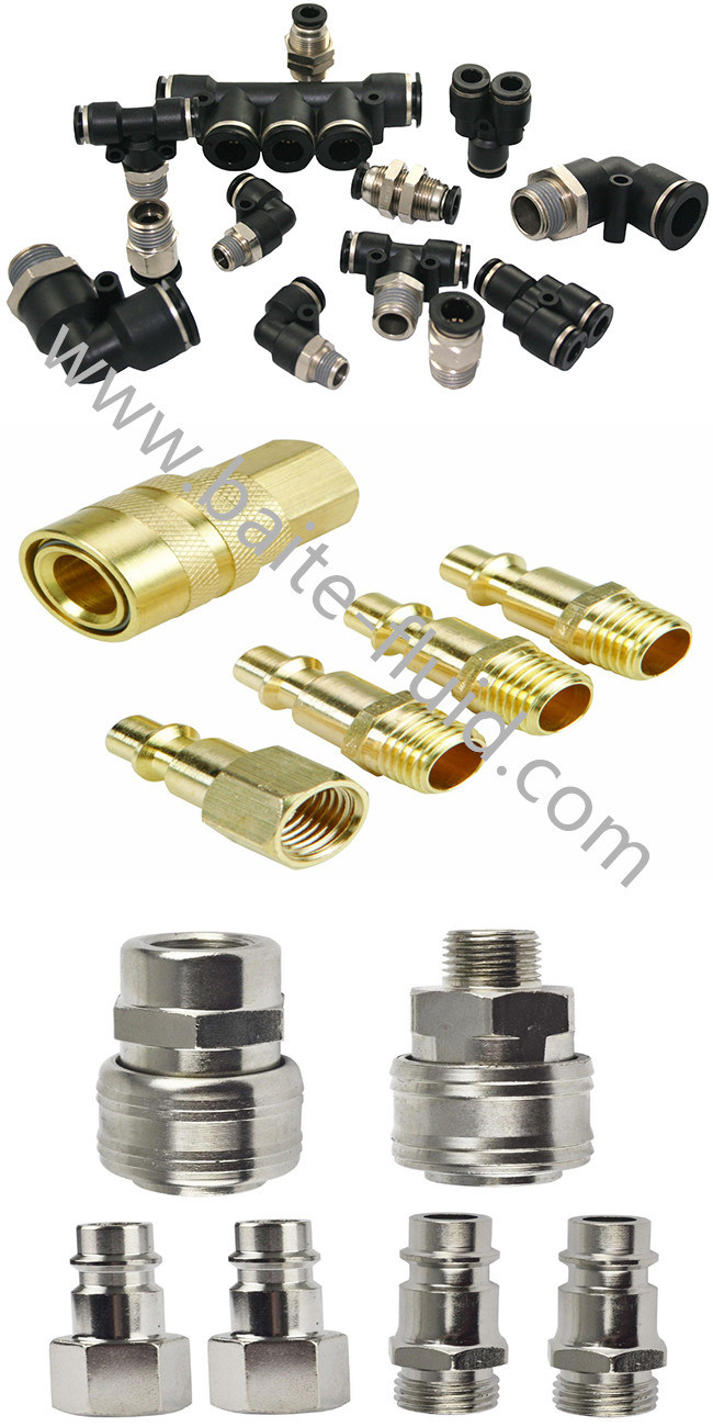 China Brass Pneumatic Quick Connector Fittings Metal Push in Fittings Quick Coupler Pipe Joint