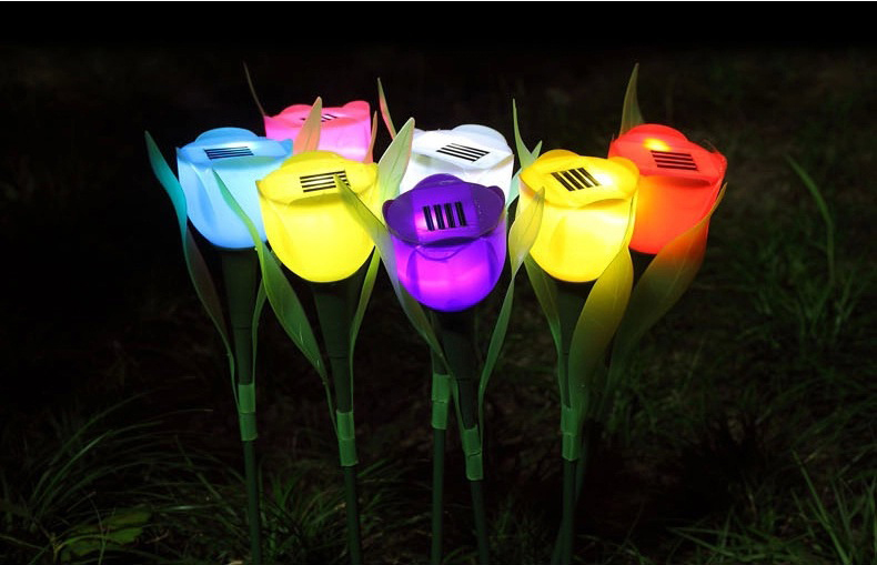 Solar Powered Colorful Flower Tulip LED Light Grden Decorative Solar Lawn Lights