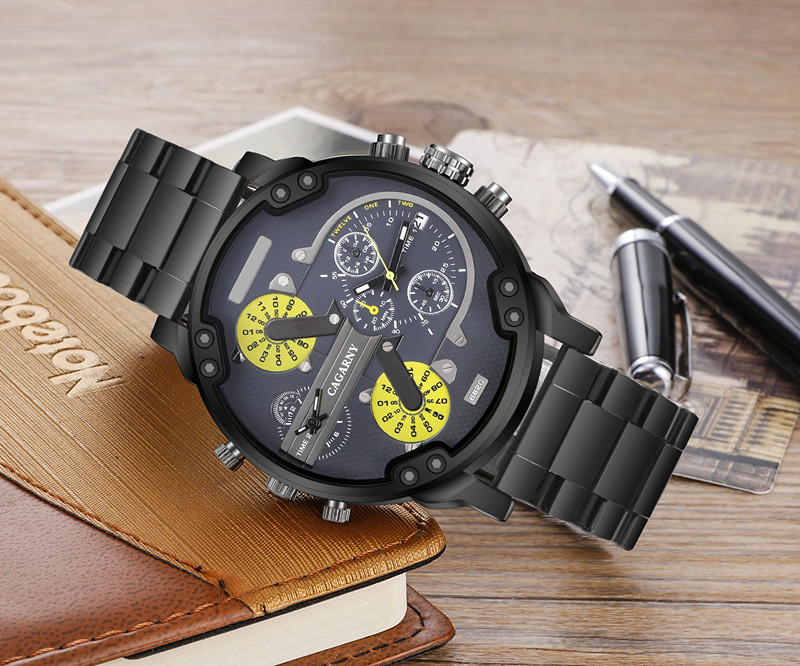 Cagarny Multifunction Wristwatch for Men Stainless Steel Bracelete Watch in Black and Silver Color