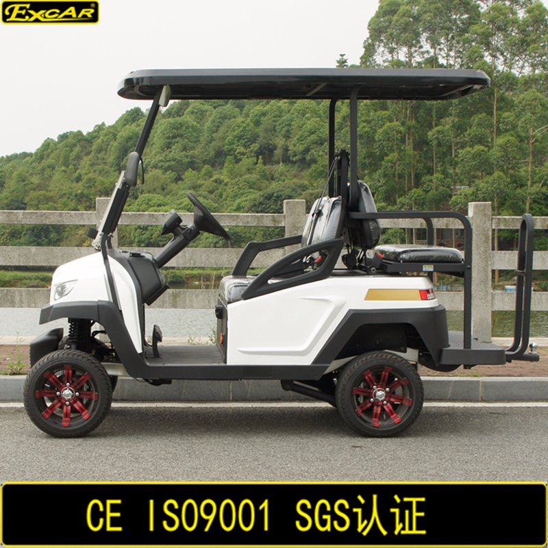 Red Aluminum Wheel Electric Golf Cart 4 Seaters