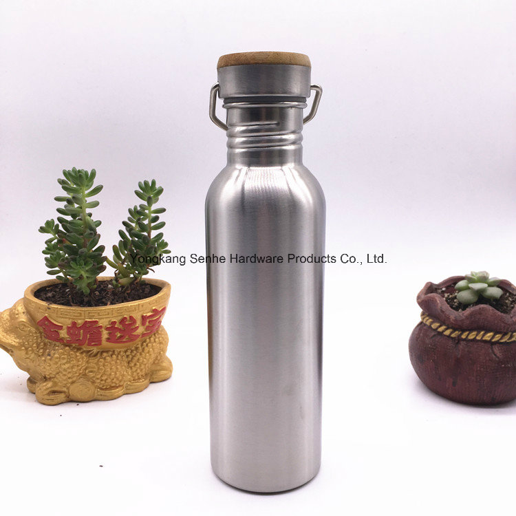750ml Wood Lid Stainless Steel Vacuum Water Bottle with Wide Mouth (SH-ST04)