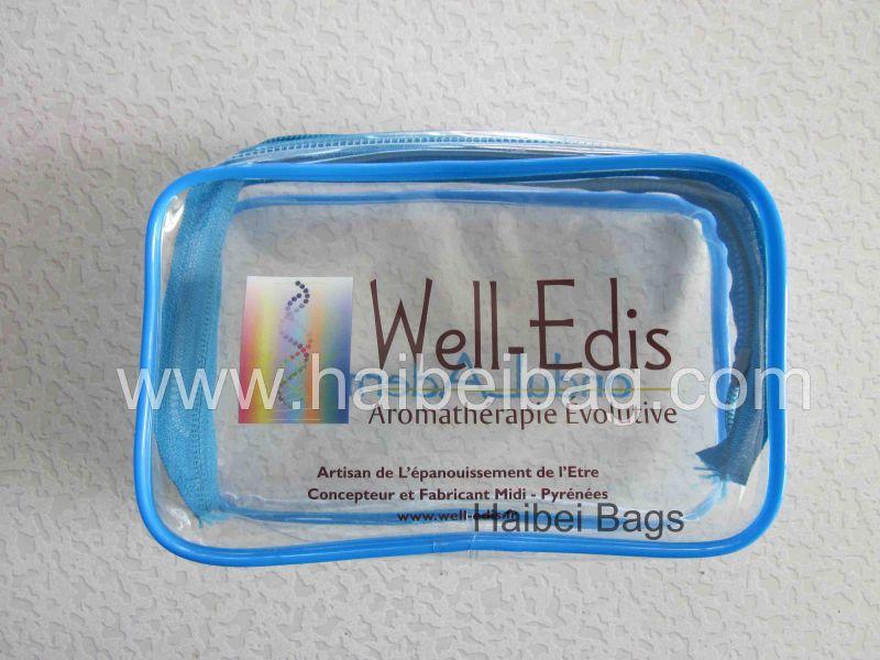 Transparent Cosmetic PVC Bag, with Custom Colour Seam