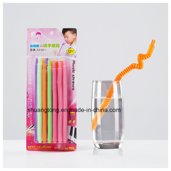 Plastic Long Flexible Whistle Straw