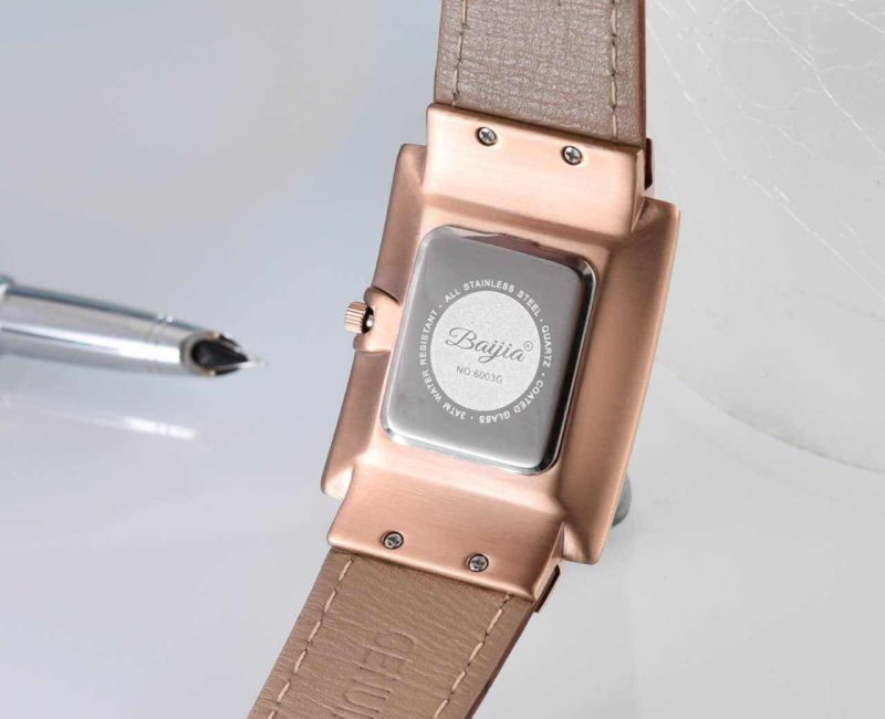 Rose Gold Stainless Steel Quarts Chronograph Brown Leather Ladies Watch