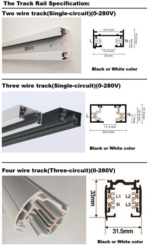 10W Epistar COB 2 Wire Track Lighting for Shop Luminary