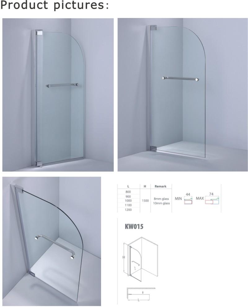 Curved Corner Tempered Glass Bathtub Screen (A-KW015)