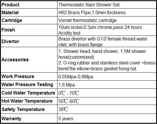 Wall Mounted Thermostatic Rain Shower Bathroom Shower