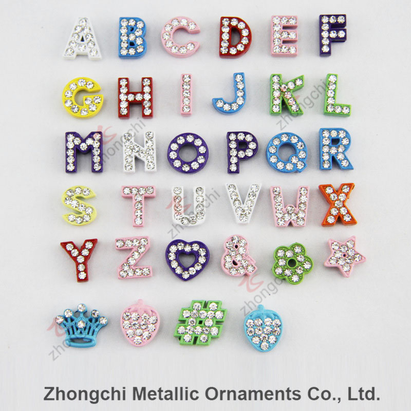 8mm Colorful Rhinestone Slide Alphabet Charm for DIY Jewelry