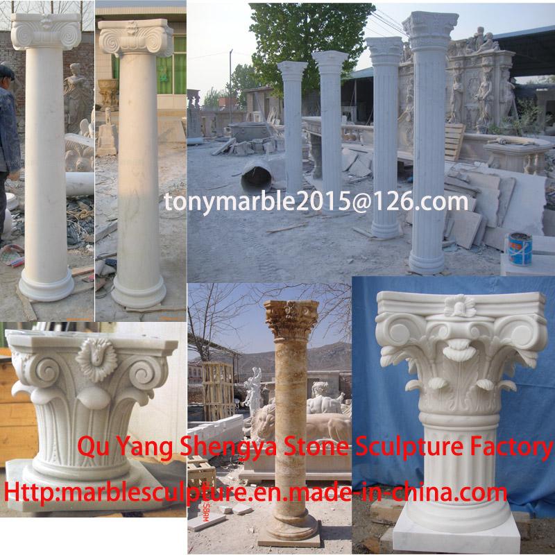 White Marble Stone Sculpture Column (SY-C023)