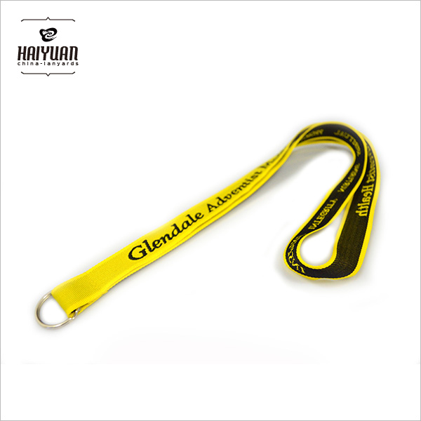 Yellow Woven Lanyard with Keyring