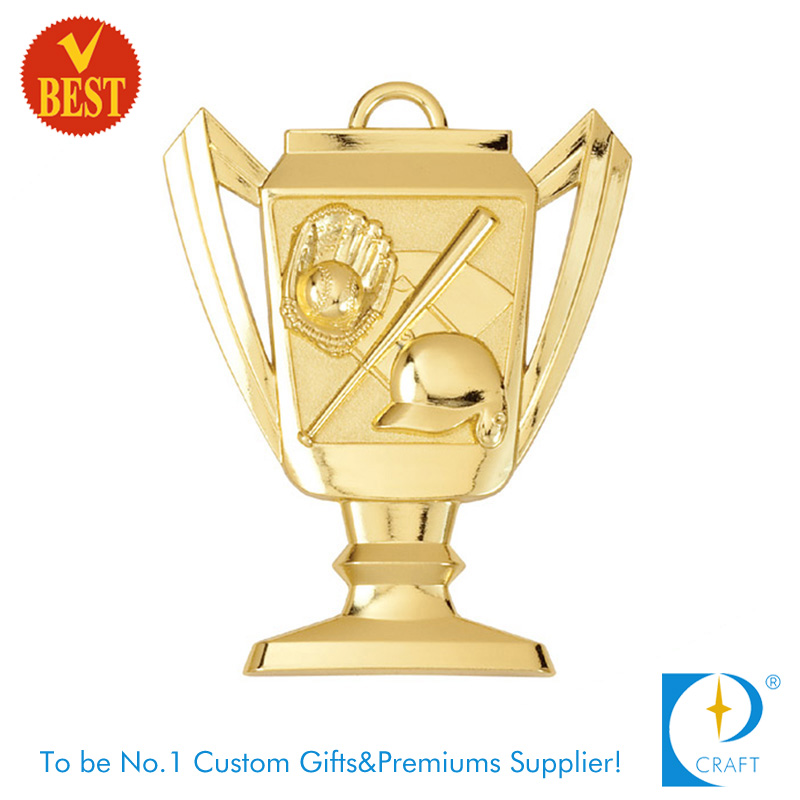 High Quality Custom Award Metal 3D Baseball Cup Medal with Gold Plating