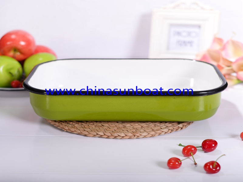 Enamel Deep Rectangular Serving Tray