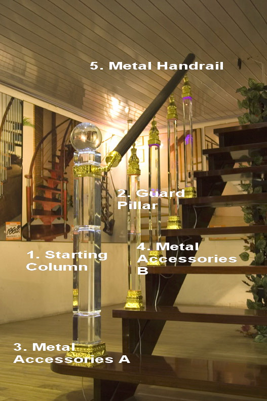 high glass crystal stair railing