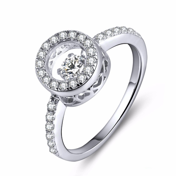 925 Silver Rings Jewelry with Dancing Diamond CZ Micro Setting