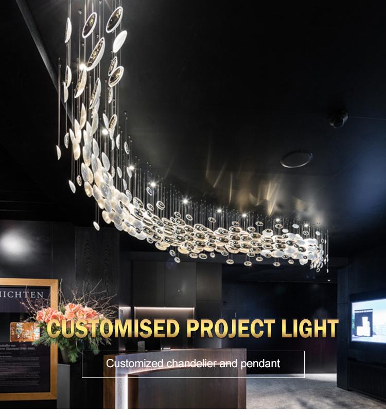 Projeto de design moderno, grande e fascinante, salão de banquete personalizado com luz de lustre led
