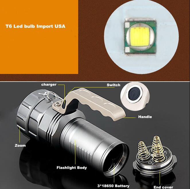 8862 10W T6 Bulb 1000 Lumens LED Rechargeable Searchlight Torch
