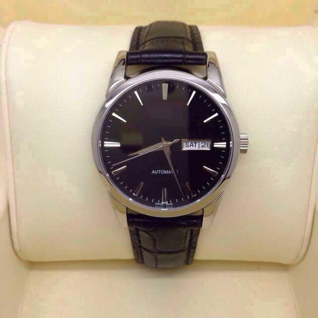 Mens Quartz Watch Ss Case Calf Leather