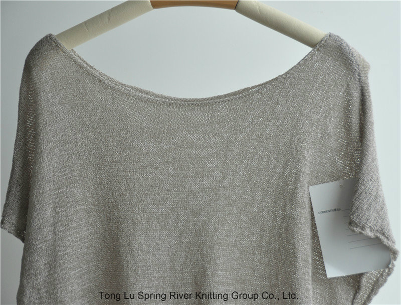 Pure Color Round Neck Pullover Sweater for Ladies