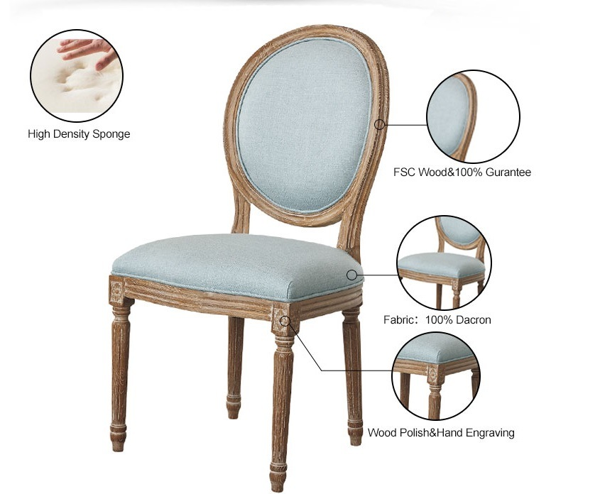 French Country Linen Fabric Upholstered Round Back Louis Xvi Dining Chair