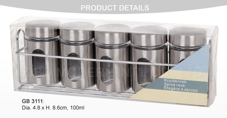 6PCS Mini Glass Spice Jar with Stainless Steel Coating