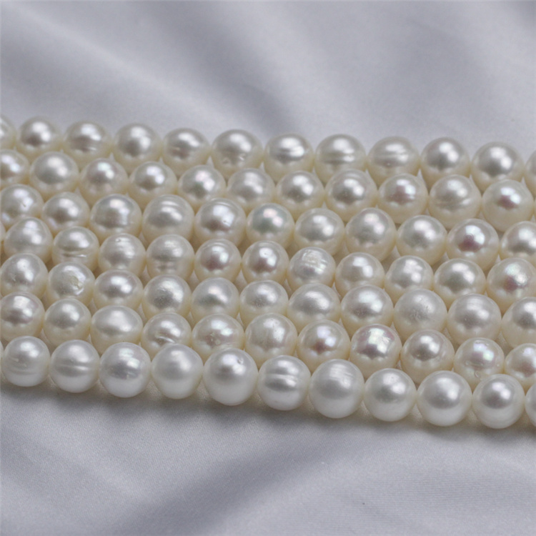 9-10mm a+ off Round Cultured Freshwater Pearl Strand