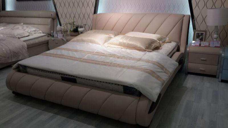 2016 New Design Bed, Leather Bed, Modern Bedroom Furniture (J066)