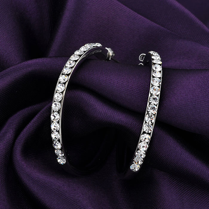 Best Quality White Gold Plated Crystal Stud Hoop Earrings