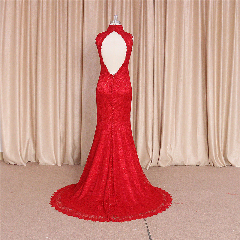 Chinese Backless Red Wedding Dresses Evening Dress