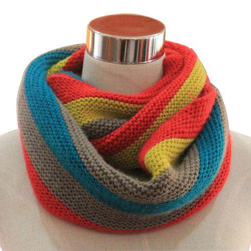 Women Fashion Three Tone Acrylic Knitted Winter Neck Warmer (YKY4188)