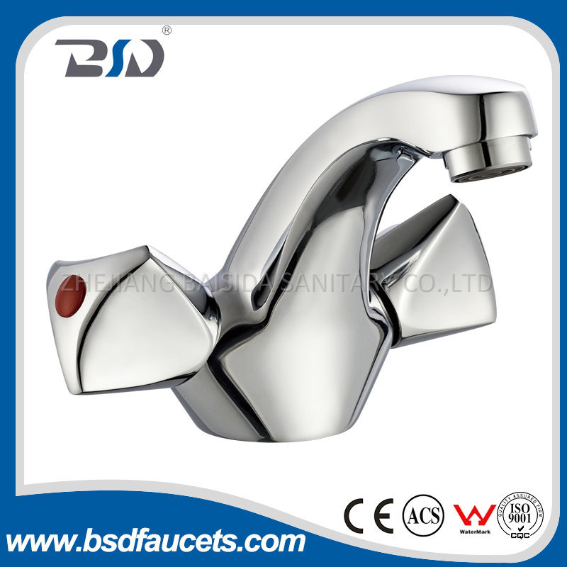China Traditional Double Handles Chrome Deck Mounted Basin Faucet Mixer