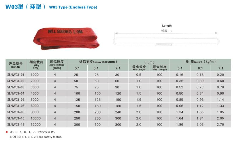 1t-12t Sf 5 6 7 100% Polyester Safety Belt with Ce GS Certificate