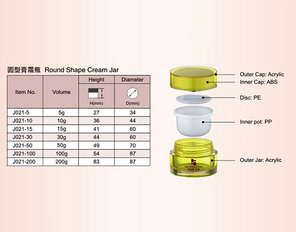Wholesale Round Double Wall Acrylic Jar for Cream