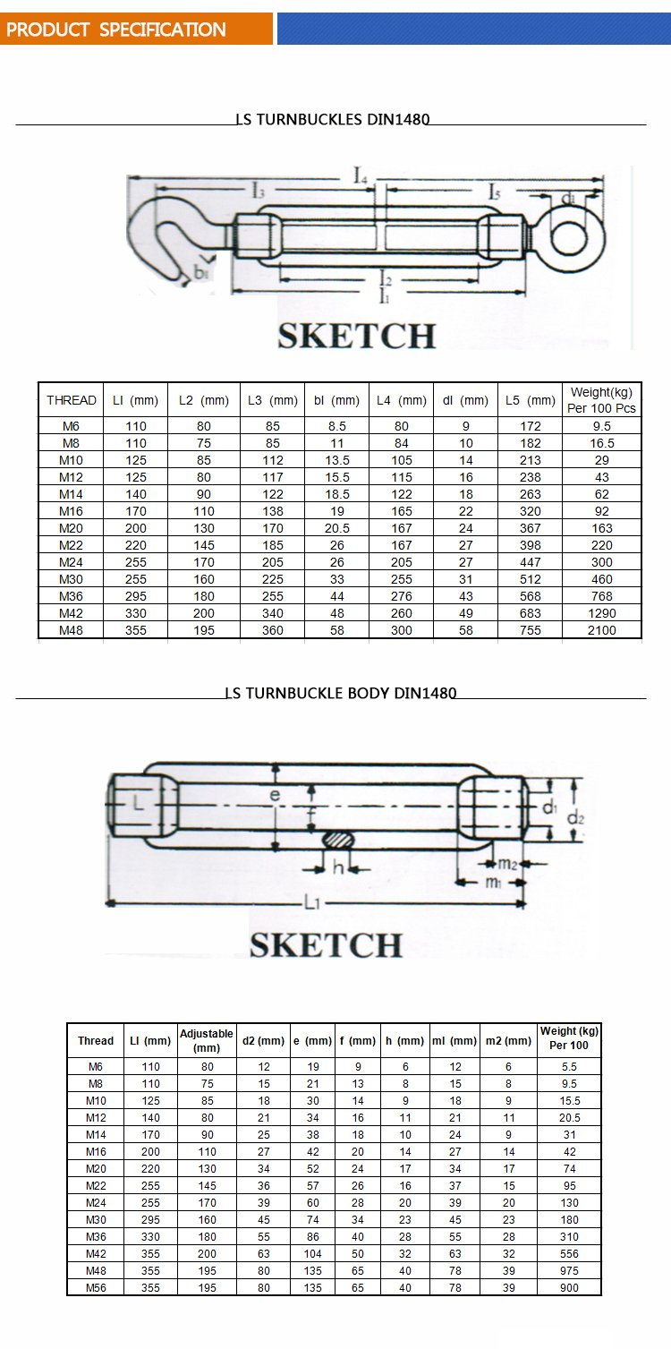 High quality China Famous Ls Brand DIN1480 Stainless Steel Turnbuckle