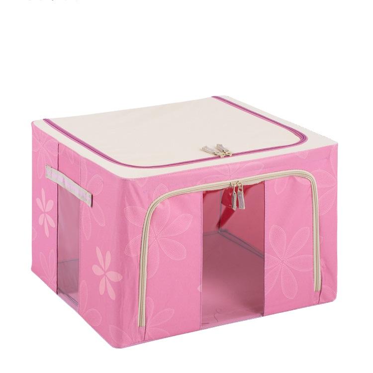 Nylon Pink Foldable Cloth Storage Organizer Box (HX-W003S)
