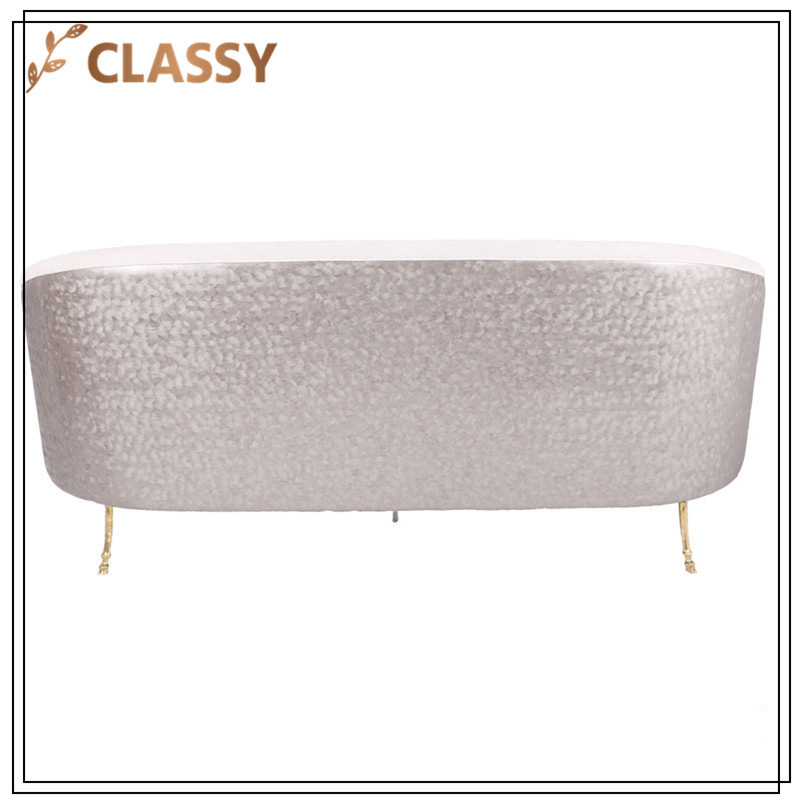 Apricot Flannel Top Gold Stainless Steel Frame Sofa